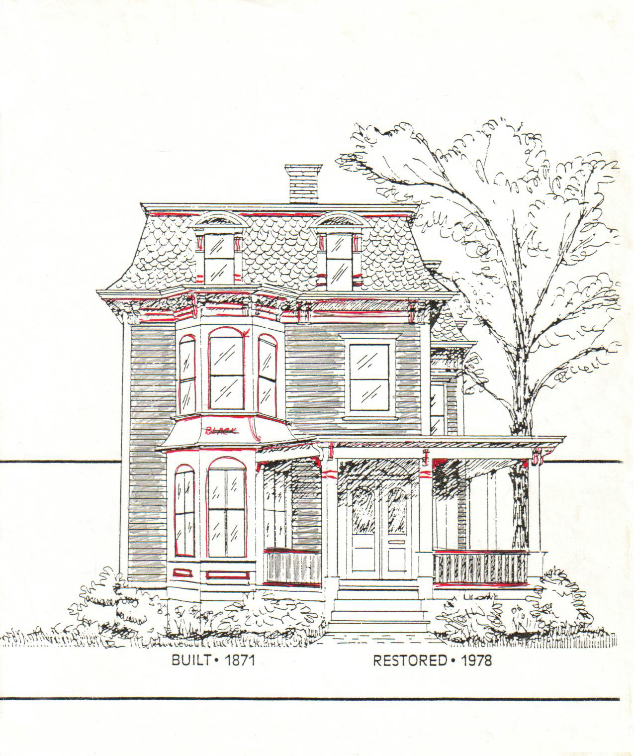 sketch of the emory house